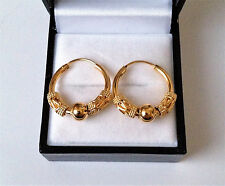 Small 9ct Gold Plated Bead Drop Sleeper Hoop Earrings 18mm.