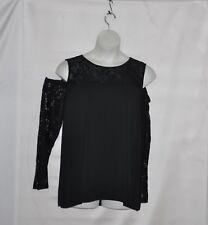 Belle by Kim Gravel Cold Shoulder Knit Top with Lace Detail Size 1X Black