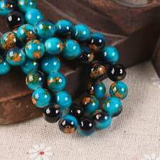 60pcs 8mm Black & Lake Blue Porcelain Imitated Coated Round Glass Loose Beads