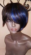 Fashion Source Brown/Blue Front Streaks Premium Human Hair Short Tailored Wig.