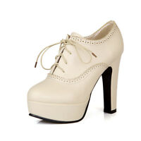 Womens High Heel Slim Lace Up Wing Tip New Platform Ankle Boots Shoes ALL UK Sz