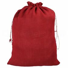 "20 Red Burlap Bags with Drawstring - 18"" x 24"" - Christmas Holiday Gunny Sack"