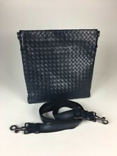"Bottega Veneta Blue ""Intrecciato"" Leather Crossbody Bag Pillow Bag Messenger"
