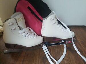Graf Bolero Figure Ice Skates White Size 6 With Carry Case