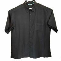 Cubavera Mens Short Sleeve Button Down Black Shirt XXL Rayon Blend