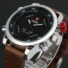 ZEIGER Mens LED Date Day Black Brown Sport Military Quartz Wrist Watch + Box