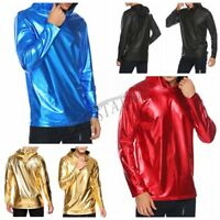 Men's Metallic Shiny Hoodies Tops Shirt Casual Long Sleeve Pullover Top Costume