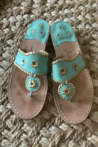 Jack Rogers Sandals flip flops turquoise and gold size 9M. EUC.