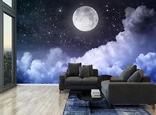 Night Sky Moon Blue Clouds Stars Wall Mural Photo Wallpaper GIANT WALL DECOR