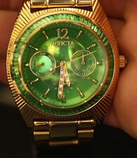 Invicta Womens Wildflower Green Dial Crystal Acc Gold Tone Stainless Steel Watch