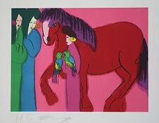 WALASSE TING. Litografia Original -Red horse with three geishas- firmado y nume.