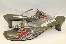 DONALD J PLINER Slide Sandal Womens 8.5 M Green Striped Heel Open Toe Shoes