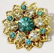 broche bijou vintage rosace ajourée cristal bleu topaze  diamant couleur or * 75