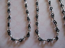 Rosaline AB Pink 3mm Fire Polished Glass on Jet Black Linked Bead Chain 18 inch