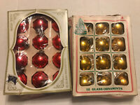 24 VINTAGE CHRISTMAS ORNAMENTS BLOWN GLASS SHINY BRITE Small Size