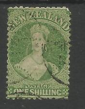 NEW ZEALAND SG123/4 THE 1864-71 QV 1/- GREEN OR DEEP GREEN FINE USED CAT £140MIN