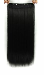22 Inches Straight Half Head Clip In Synthetic Hair Extensions Cosplay Hairpiece