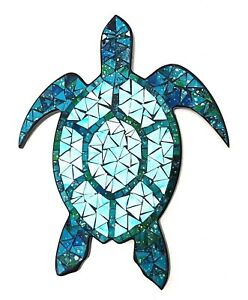 Mosaic/wood teal & green Turtle wall art plaque decoration L38cm x W31cm-NEW