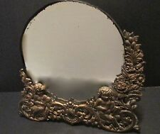 Antique Victorian Cupid Putti BRASS VANITY MIRROR Half-Frame Pierced Easel/Hang