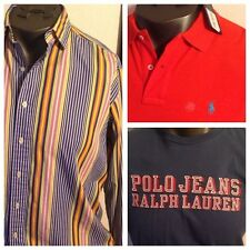 Lot Of 3 Polo Ralph Lauren Mens Shirts Polo Button Front & T Shirt Sz Large