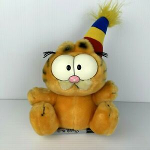 Vintage 1980s Garfield Plush Toy Cat Wearing Party Hat Sitting 25cm Dakin
