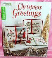 Leisure Art Christmas Greetings Cross Stitch Chart Book Santa Poinsettia Bells