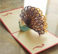 3 PACK 3D Pop Up Greeting Card Peacock Birthday Easter Anniversary Mother's Day