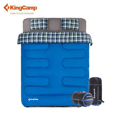 KingCamp Double Sleeping Bag 3-in-1 Spacious Airbed Fitted + 2 Pillows No Airbed