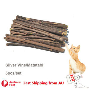5x Silver Vine Sticks Cat Chew Dental Dry Matatabi Toy Kitten Clean Tooth Health