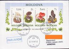 MOLDOVA MUSHROOM MUSHROOMS AIR MAIL LETTER TO NAGORNO KARABAKH ARMENIA R15047