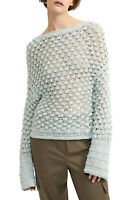 Theory Women's Cotton Blend Lace Stitch Pullover Sweater Light Blue Size M