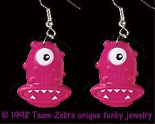Sci-Fi Novelty Cosplay Costume Jewelry Huge Funky Pink Alien Cyclops Earrings