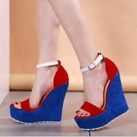 Women's Colorblock High Heels Wedge Ankle Strap Platform Open Toe Suede Sandals