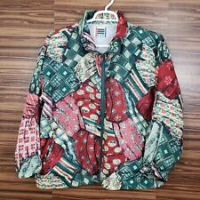 EVR Women's Large Silk Bomber Jacket Zip Up Lining Nylon Vintage 80's Colorful