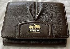 COACH Leather Madison Credit Cards Coin Zipper Mahogany Punch 46604 $188 NWT
