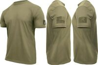 Mens Coyote Brown AR 670-1 Tactical US Flag Athletic Muscle T-Shirt & Loop Field
