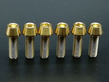 6pcs M6x18mm Titanium Ti Bike Stem Gold Bolts Taper Head Bicycle Conical