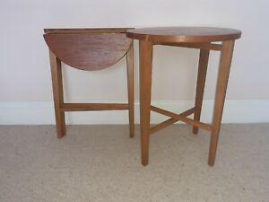 1970s ORIGINAL VINTAGE PAIR OF FOLDING SIDE TABLES POUL HUNDEVAD G PLAN