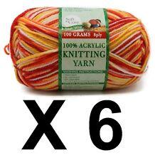 Knitting wool 6 x 100g acrylic yarn 8ply Multi Colour Brights 100% Brand New