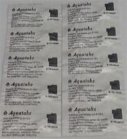 Aquatabs Potable Water Purification Tablet 67 mg treats 8-10 lt  exp 10/2023