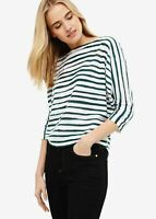 Phase Eight Brinley Stripe Batwing 3/4 Sleeve Jumper Top Green/White M RRP69