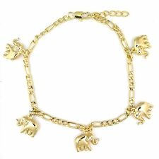"14k Gold Plated Lucky Elephant Charms Versatile Figaro Bracelet Anklet 8.5"""