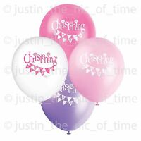 "PINK CHRISTENING Girl Party Balloon Decorations 12"" Latex Helium BALLOONS x8"