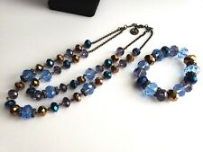 TRIFARI Double Strand Blue Crystal Glass Bead Necklace  and Bracelet SET