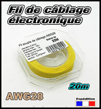 awg28J fil Jaune de câblage modélisme éléctronique Ø 0,8mm bobine  20m