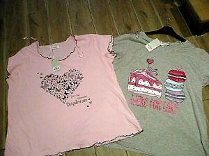 ladies  nightwear 2 pyjama tops  SHORT SLEEVE SIZE 22-24  26-28 PLUS SIZE