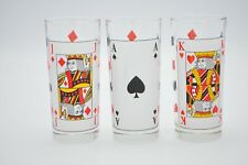 Vintage Italian Face Playing Card Poker Drinking Cups Glass Glasses Bar