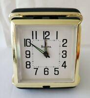 Vintage Bulova FoldingTravel Wind Up Alarm Clock Keywind Black B6112 Glow Hands