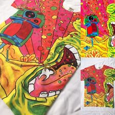 New Womens/Mens Psychedelic Rainbow Edgy Robot Print T Shirt