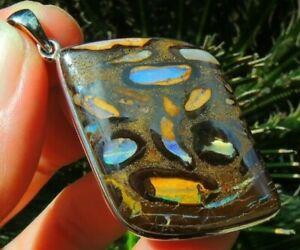 Australian Queensland Boudler Opal Pendant Sterling Silver 925 Jewelry Yowah Gem